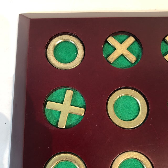 Vintage Cherry Wood & Brass Tic Tac Toe Set - Image 4 of 11