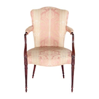 English Mahogany Upholstered Arm Chair For Sale