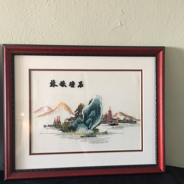Vintage Chinese Hand Embroidered Wall Art - A Pair - Image 4 of 8