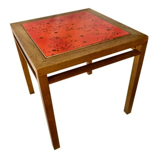 """Small Mid-Century Orange Tile Table """"Sunglow"""" by Brown Saltman For Sale"""