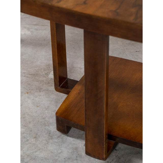 Walnut Art Deco Vintage French Walnut Table circa 1930 For Sale - Image 7 of 9