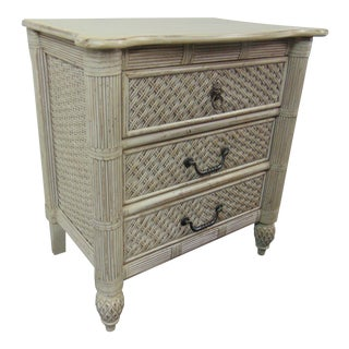 Cream Bamboo & Wicker Nightstand For Sale