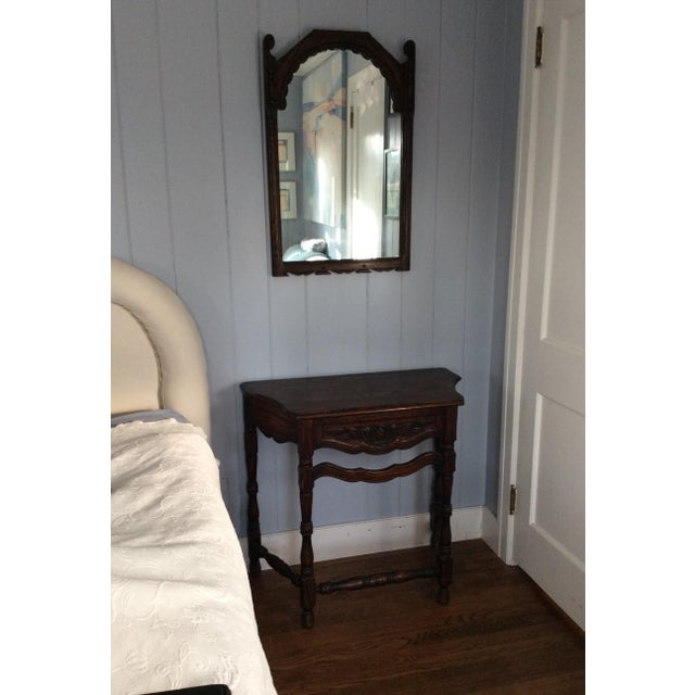 Early 19th Century Rustic Dark Oak Console and Mirror - 2 Pieces For Sale - Image 11 of 13