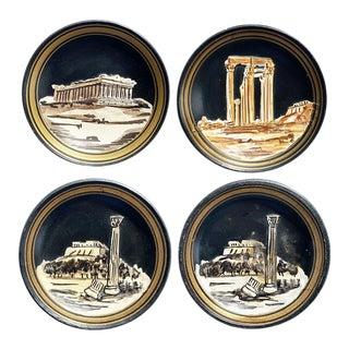 Vintage Round Black Jasper Clay Grand Tour Greek Plate Set - Set of 4 For Sale