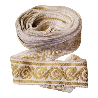 Wide Gold and White White Fabric Border Trim For Sale