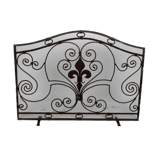 Black Handmade Wrought Iron Fireplace Screen For Sale - Image 8 of 9