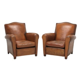 Pair of Original Leather French Club Chairs Restored Internally With Horsehair For Sale