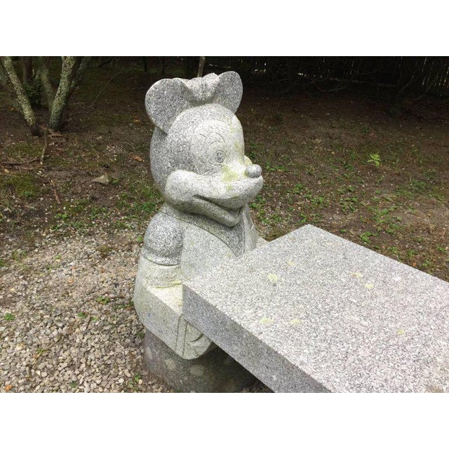 Mickey Mouse and Minnie Mouse Bench in Carved Solid Granite For Sale - Image 4 of 6
