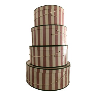 Vintage Wide Pink Ivory Green Accent Nesting Hat Boxes - Set of 4 For Sale