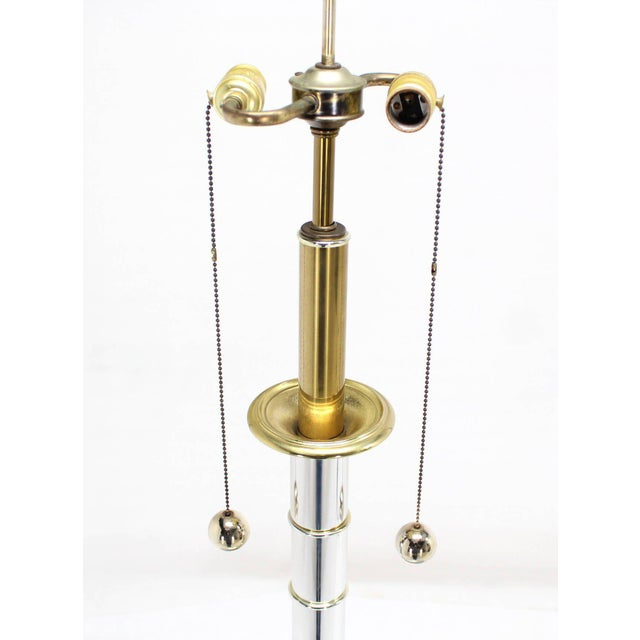 Gold Faux Bamboo Chrome and Brass Table Lamp For Sale - Image 8 of 9