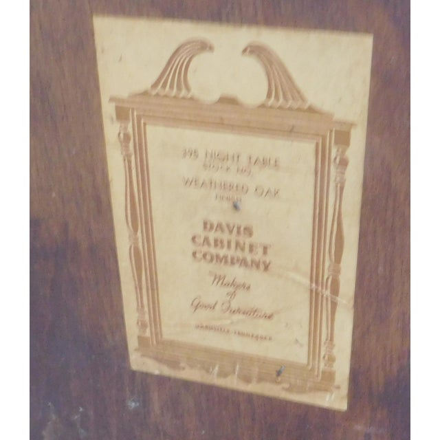 Vintage Davis Cabinet Co. Oak Nightstand For Sale In New York - Image 6 of 6