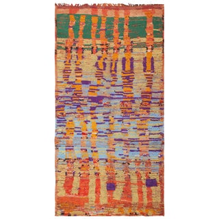 Vintage Moroccan Colorful Rug - 5′2″ × 10′ For Sale