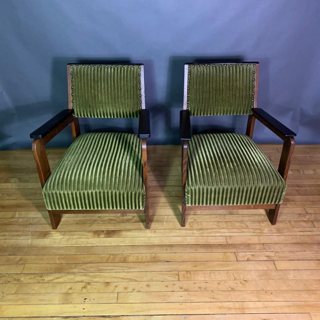 Pair 1940s Wenge Wood Armchairs, Corduroy & Rosewood For Sale - Image 4 of 11