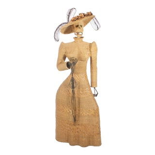 Mario Torres Wicker Sculpture of a Woman For Sale