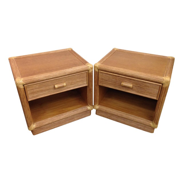 Island Style Wood & Rattan Nightstands - A Pair For Sale
