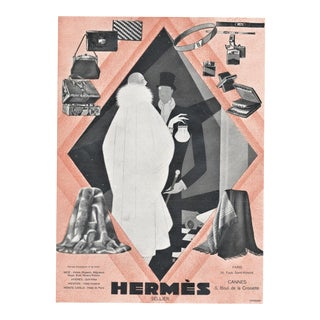 1928 French Art Deco Hermès Advertisement Print, Matted For Sale