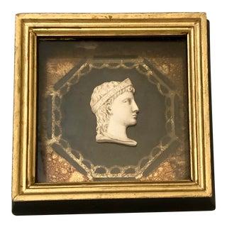 Italian Grand Tour Intaglio Miniature Profile Portrait and Gilt Frame For Sale