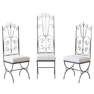 Arthur Umanoff Style Spanish Revival High Back Chairs - Set of 3 For Sale
