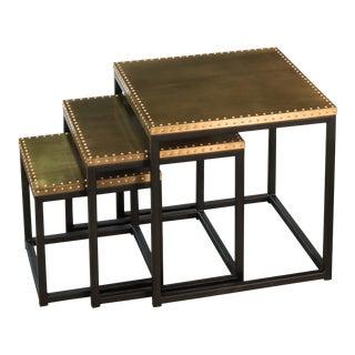 Sarreid Ltd Industrial Nesting Side Tables - Set of 3 For Sale