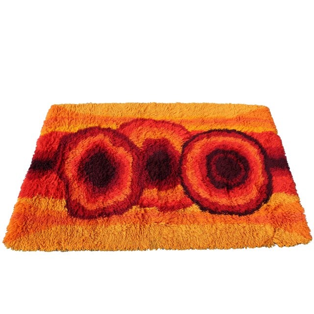 Mid-Century Modern Red Orange Rya Shag Area Rug Carpet 1970s For Sale