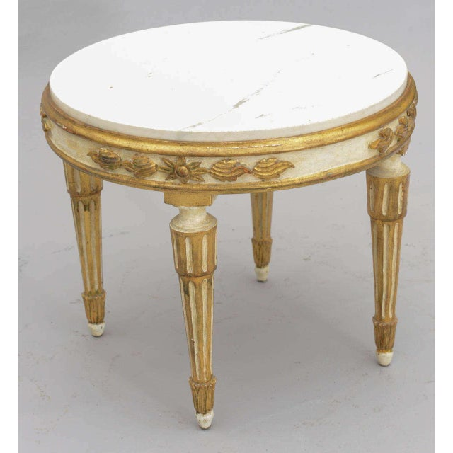 Louis XVI Louis XVI Giltwood Accent Table With Carrara Marble Top For Sale - Image 3 of 10
