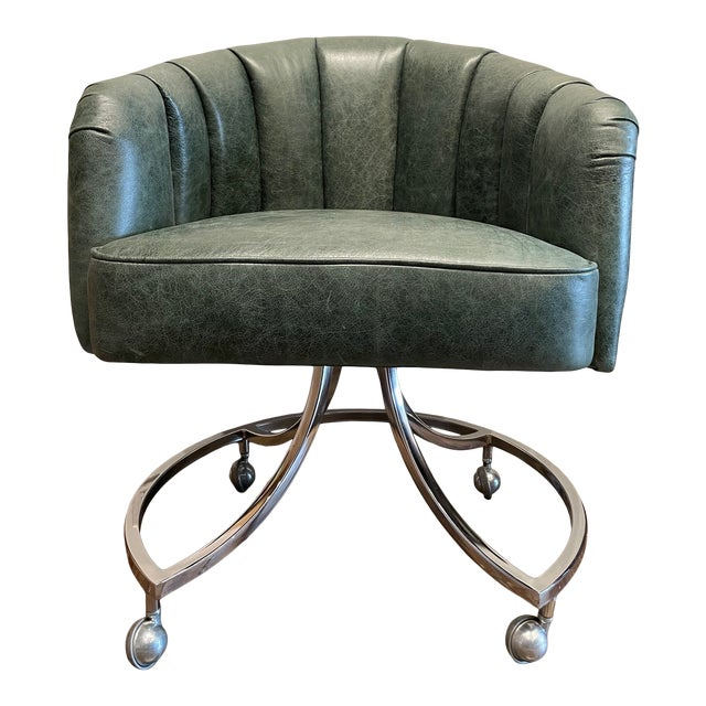 1970s Leather Channel Tufted and Chrome Desk Chair For Sale