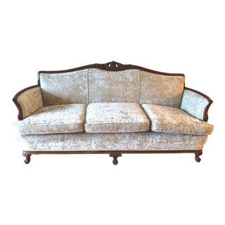 Beige Crushed Velvet 3 Seater Settee For Sale