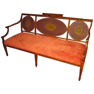 1900s Vintage Adam Style Painted Satinwood Caned Back Bench Settee For Sale