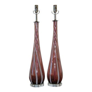 Vintage Murano Glass Lamps Purple White For Sale