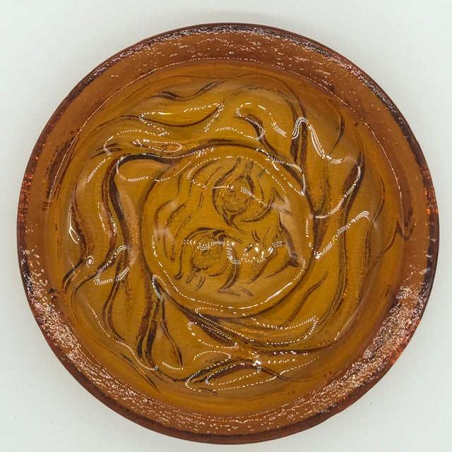 Glass 1970s Blenko Thick Amber Glass Round Sun Tray For Sale - Image 7 of 10
