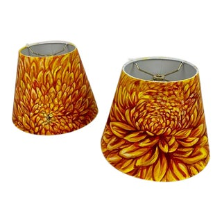 Custom Hand Painted Lamp Shades - a Pair For Sale