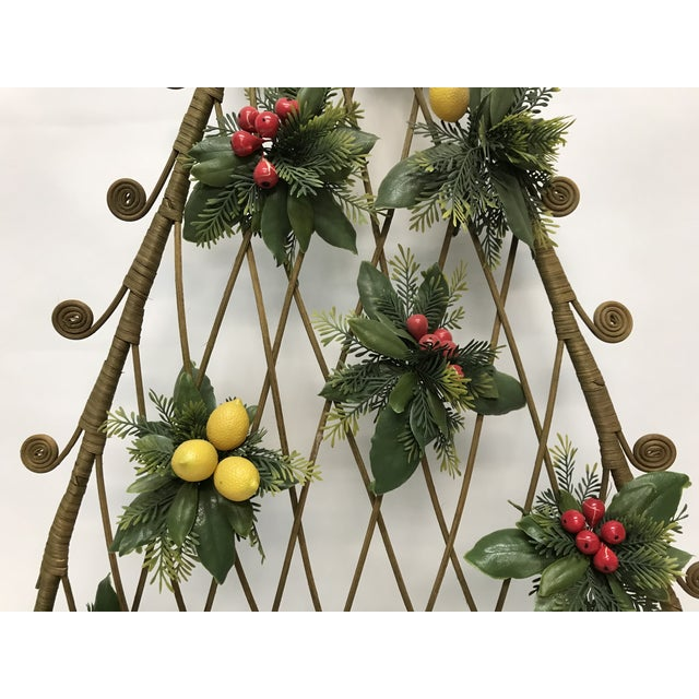 1970s Mid-Century Boho Wicker Rattan Christmas Tree Wall Hanging For Sale - Image 5 of 8