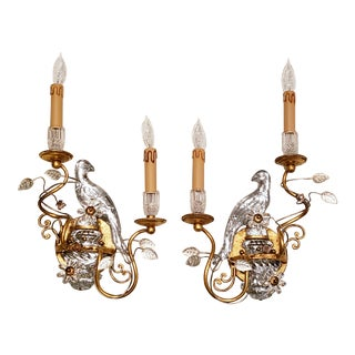 French Maison Baquès Bronze and Crystal Parrot Sconces - a Pair For Sale