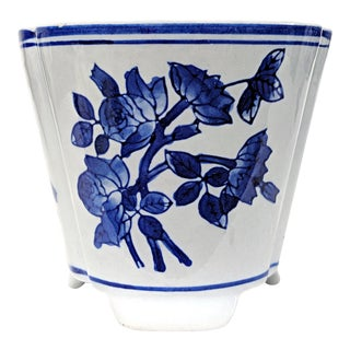 Blue and White Footed Ceramic Pot For Sale