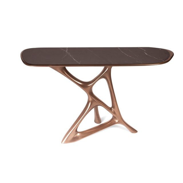 Amorph Anika Console, Bronze Finish With Black Marble For Sale In Los Angeles - Image 6 of 9
