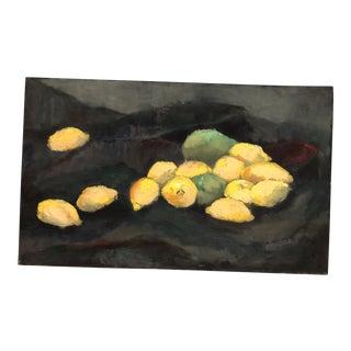 Vintage Original Still Life Painting With Lemons For Sale