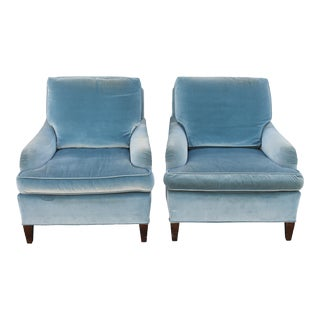 C. 1970s Mid Century Blue Velvet Club Chairs - a Pair For Sale