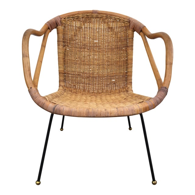 Calif-Asia Bamboo and Wicker Arm Chair For Sale