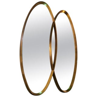 Gold Leaf Double Oval Mirror For Sale
