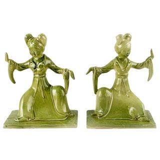 Pair Italian Ceramic Geisha Statues For Sale