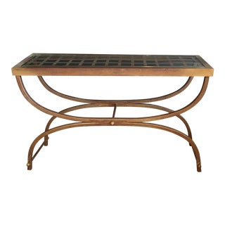 Bronze Curule Iron X Frame Lattice & Glass Top Console Table For Sale