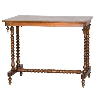 Occasional Table With Geometric Inlaid Top on Sausage Turned Legs For Sale