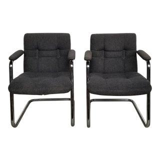 Vintage Mid-Century Chromcraft Chrome Tubular Cantilever Arm Chairs -A Pair For Sale