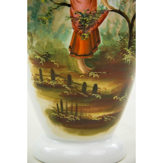 English Traditional 19th C. Victorian Hand Painted Bristol Vase For Sale - Image 3 of 9