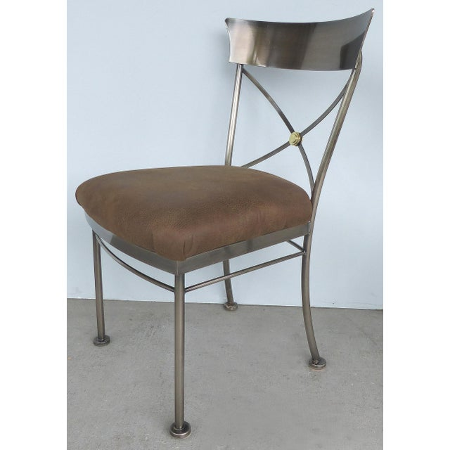 DIA - Design Institute America Italianate Steel & Brass Dining Chairs by Design Institute of America (DIA)-Set of 6 For Sale - Image 4 of 12