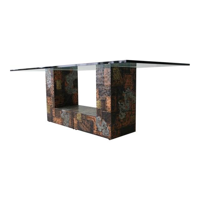 Brutalist Metal Patchwork Pedestal Dining Table by Paul Evans For Sale