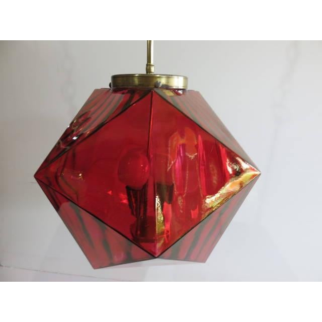 Geodesic Cranberry Colored Light Pendant Mid Century Modern For Sale - Image 11 of 11