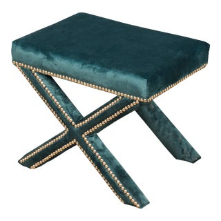 Sarreid Ltd. The Garbo Ottoman in Green Velvet For Sale