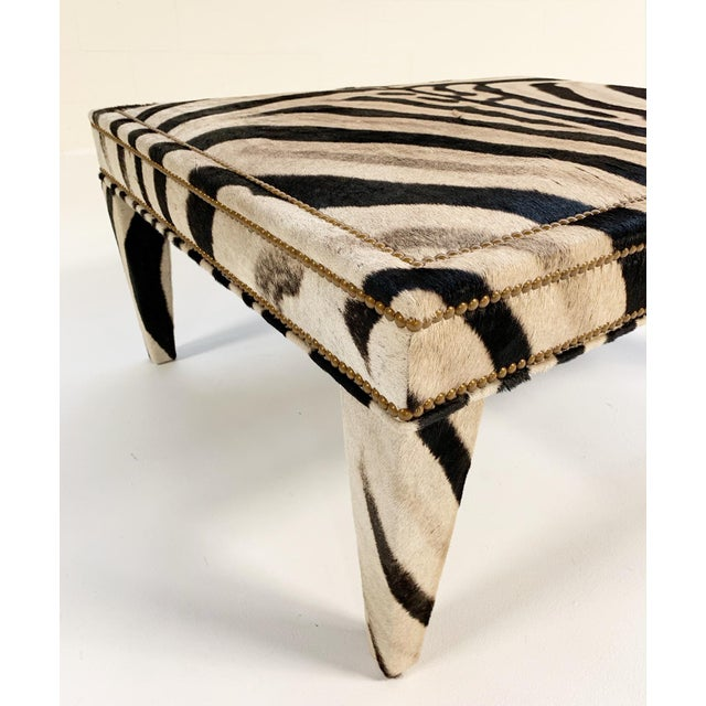 Forsyth Zebra Hide Parsons Style Ottoman For Sale In Saint Louis - Image 6 of 11