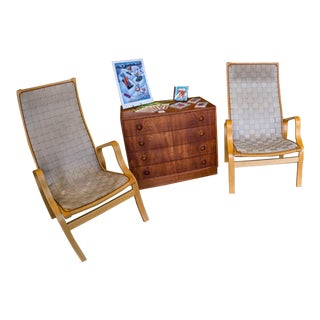 Mid-Century Bentwood Lounge Chairs - A Pair For Sale